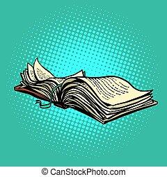 könyv, nyílik, fekszik