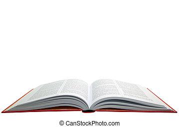 könyv, nyílik, piros