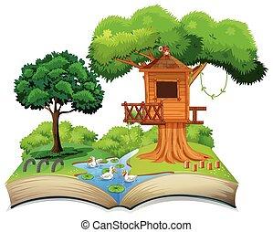 könyv, nyílik, treehouse, természet