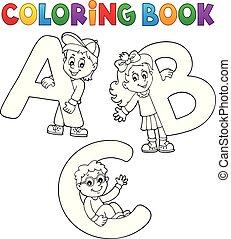 könyv, színezés, irodalomtudomány, ábécé, gyerekek