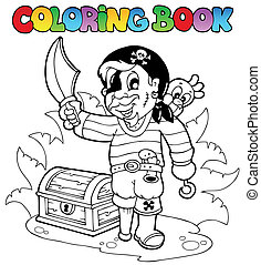 könyv, színezés, kalóz, fiatal