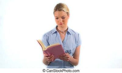 könyv, szőke, súlyos, felolvasás