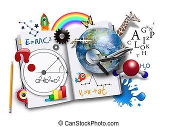 könyv, tudomány, nyílik, matek, tanulás