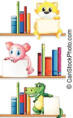 könyvespolc, előjegyez, állatok
