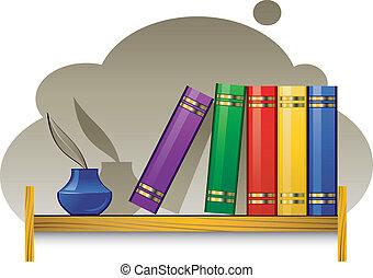 könyvespolc, előjegyez, inkwell