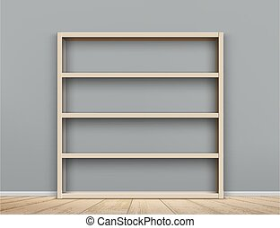 könyvespolc, fából való, room., üres, szekrény, polc