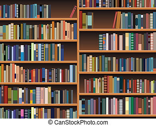 könyvespolc, fából való, vektor