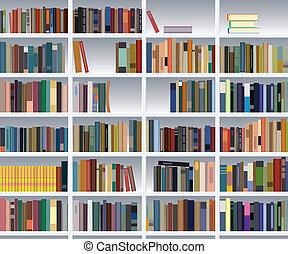 könyvespolc, vektor, modern