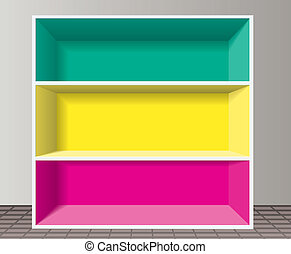 könyvespolc, vektor, színes, üres