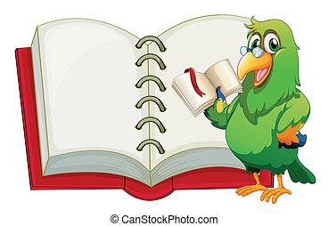 könyvjelző, üres, könyv, birtok, papagáj