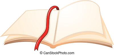 könyvjelző, könyv, piros, üres