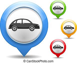 könyvjelző, térkép, ikon, retro, autó