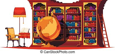 könyvszekrény, öreg, zenemű, könyvtár
