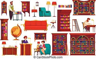 könyvtár, öreg, állhatatos, belső