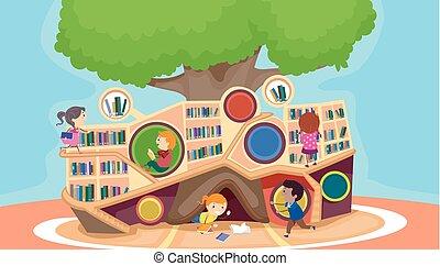 könyvtár, gyerekek, stickman, modern, ábra