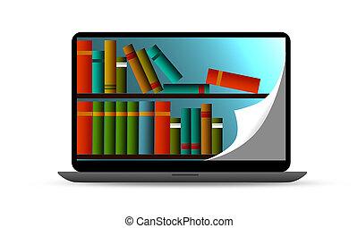 könyvtár, internet, vagy, e-learning, oktatás
