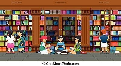 könyvtár, kutatás