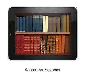 könyvtár, tabletta, digitális