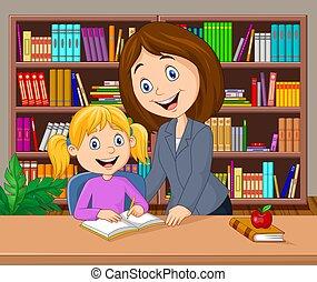 könyvtár, tanár, tanulás, ételadag, szembogár