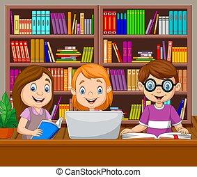 könyvtár, tanulás, gyerekek, karikatúra