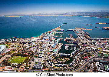 köpeny, kilátás, antenna, város, kikötő