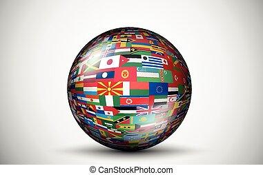 körök, minden, zászlók, forma, országok