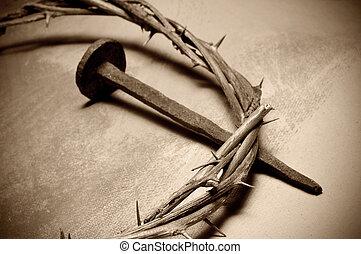 köröm, tövis, fejtető, krisztus, jézus