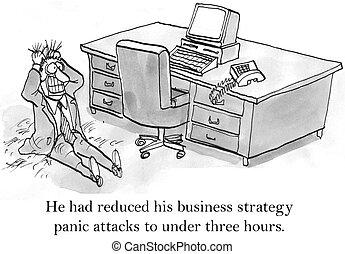 körülbelül, ügy, ceo, stratégia, támad, kap, pánik