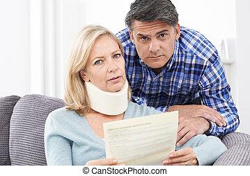 körülbelül, felolvasás, párosít, woman's, levél, kár