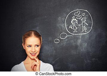 körülbelül, nő, szeret, concept., fiatal, kréta, házasság, board., rajz, álmodik