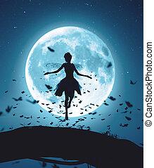 körülvett, repülés, varázslatos, holdfény, vakolás, pillangók, éjszaka, falka, tündér, 3