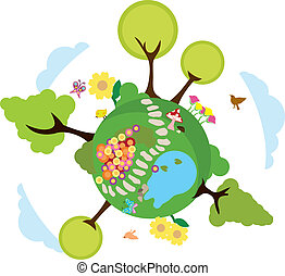 környezet, földdel feltölt, háttér