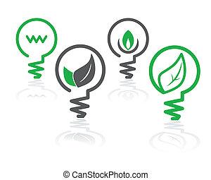 környezet, világoszöld, gumó, ikonok