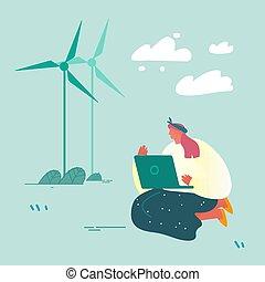 környezet, windmills, felolvasás, helyzet, lakás, vektor, természet, föld, szennyezés, törődik, hír, problem., laptop, karikatúra, melegítés, woman lány, ábra, ülés, világ-, globális, vizsgál