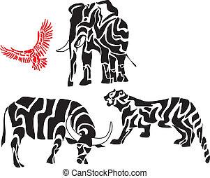 körvonal, állhatatos, állat, afrikai