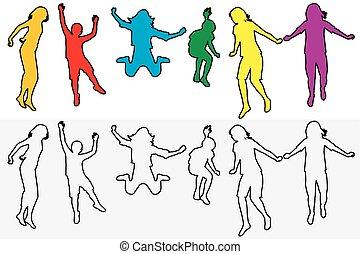 körvonal, állhatatos, áttekintés, ugrás, gyerekek