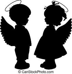 körvonal, állhatatos, angyal