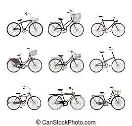 körvonal, állhatatos, bicycles, retro