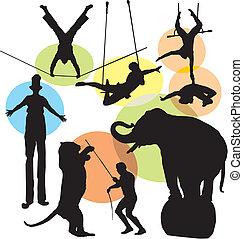 körvonal, állhatatos, cirkusz