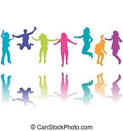 körvonal, állhatatos, gyerekek, színes, ugrás