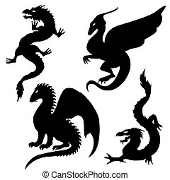 körvonal, állhatatos, sárkány