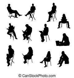 körvonal, ülés, ügy emberek