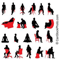 körvonal, ülés, emberek
