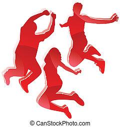 körvonal, 3, sima, jumping., barátok, piros