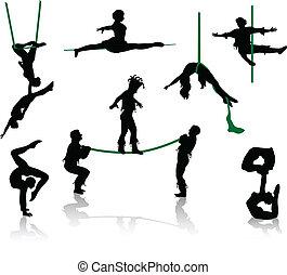 körvonal, cirkusz, performers.