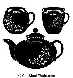körvonal, csészék, teáskanna