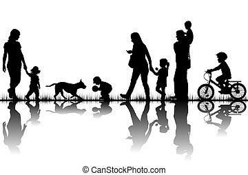körvonal, család, természet