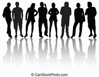 körvonal, csoport, emberek