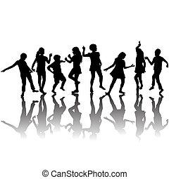 körvonal, csoport, gyerekek, tánc