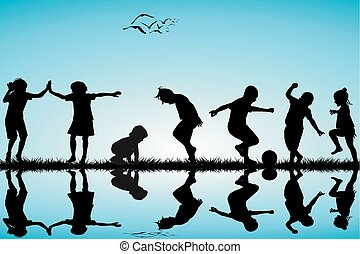 körvonal, csoport, gyermekek játék